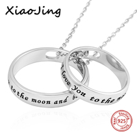 I love you to the moon and back 925 sterling silver double circles pendant necklaces diy fashion jewelry making for lover gifts