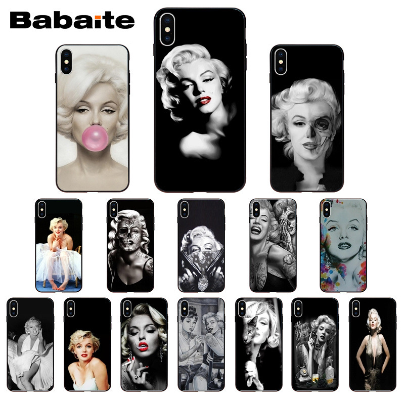 Marilyn Monroe Girl Coque Shell Phone accessories Case for iPhone 8 7 6 6S Plus X XS MAX 5 5S SE XR Mobile Cover Babaite