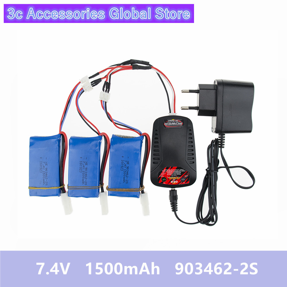 1500mAh 7.4V 903462 2S EU plug Balance charger split cable Best lithium polymer battery For FT009 remote control boat FX067C