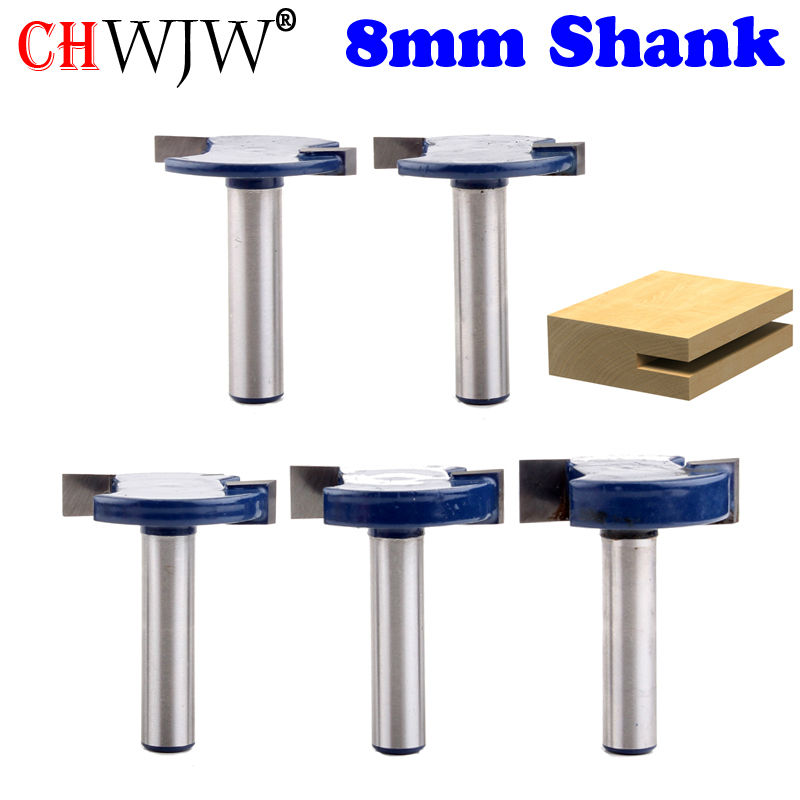 5pcs 8mm Shank T Type Bit With Bearing router bit set woodworking router bits router bits woodworking 1 2 5 8 round nose bit for wood slotting milling cutters woodworking router bits