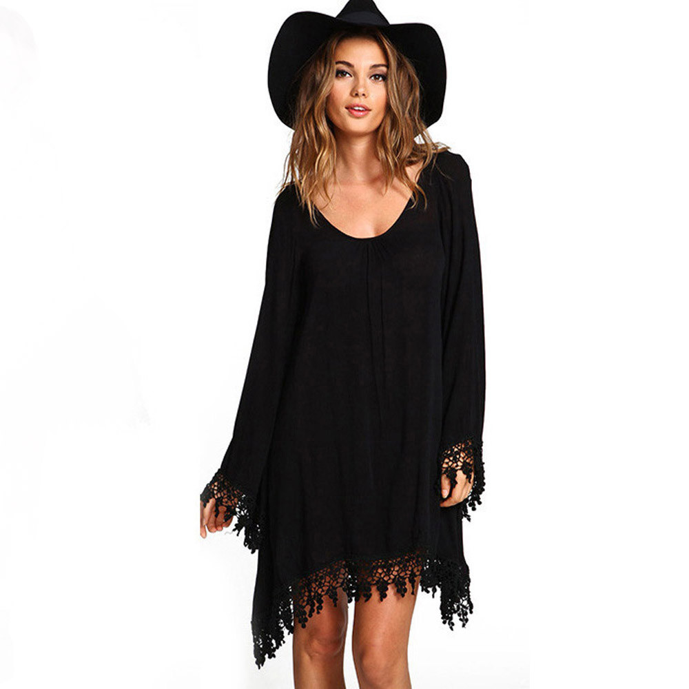 Black dress loose - 2016 Long Sleeve Black Dress Casual Femininos Crochet Floral Sexy Lace Dresses Sheer Boho People Style