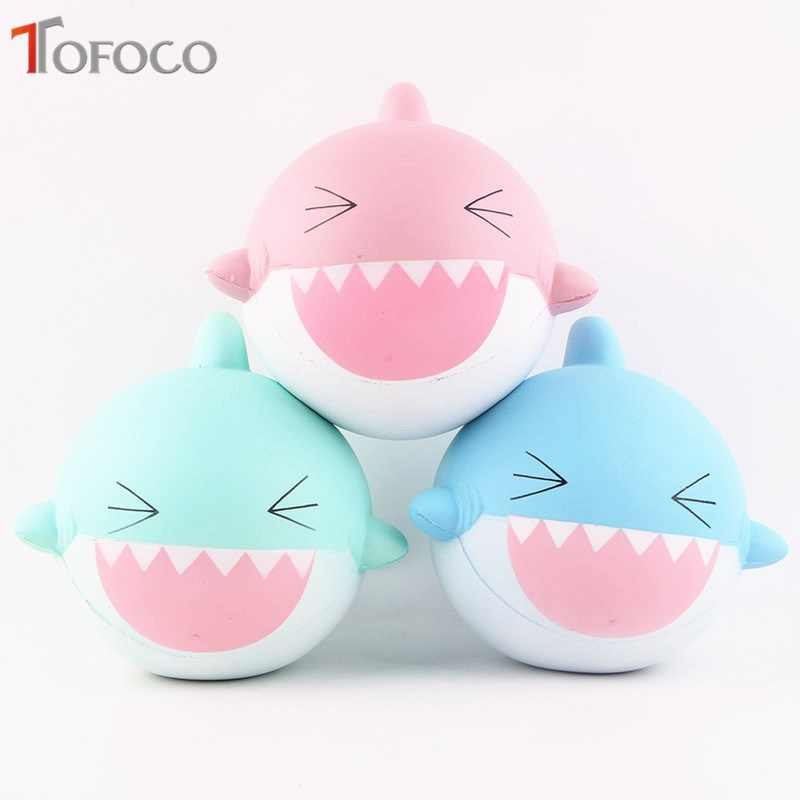 TOFOCO New 14cm Kawaii Big Happy Shark Squishy Jumbo Slow Rising Toys Antistress Decor Cake Squishe Food Squeeze Scented Gadget