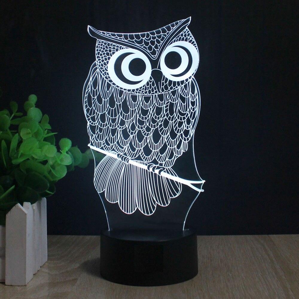 Kawaii Cartoon Owl Light 3d Led Animal Night Light Rgb