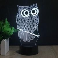 Kawaii Cartoon Owl Light 3D LED Animal Night Light RGB Changeable Lamp Child Kids Baby Soft