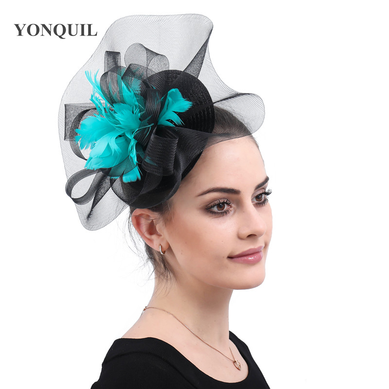 Female Elegant Church Cocktail Derby Fancy Feathers Race Hair Accessorie With Hair Clips Bridal Wedding Veils Hats Facinators