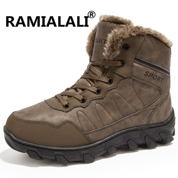 Ramialali Men Hiking Shoes Winter Outdoor Walking Jogging Shoes Mountain Sport Boots Climbing Sneakers Plus Fur Big Size 46