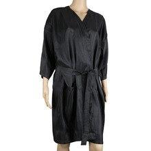 Spa masāžas klientu kleita, salons melnais kimono matu krāsas šampūns aplauzums, klienta atpūtas krēsls Smock kleita skaistumkopšanas salonam