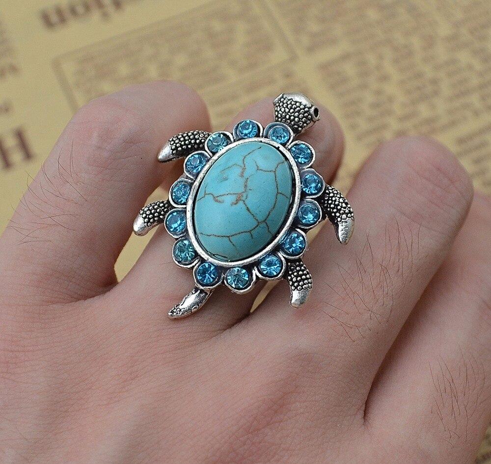 Fashion Silver Metal Big Green Stone Blue Rhinestone Tortoise Finger Ring For Women Engagement Animal Design Finger Turtle Ring