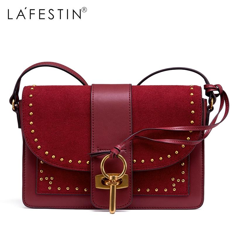 LAFESTIN Women Shoulder Bag Faux Suede Versatile Rivet Luxury Multifunction Brands Crossbody Bag Bolsa casual rivet and faux suede design shoulder bag for women