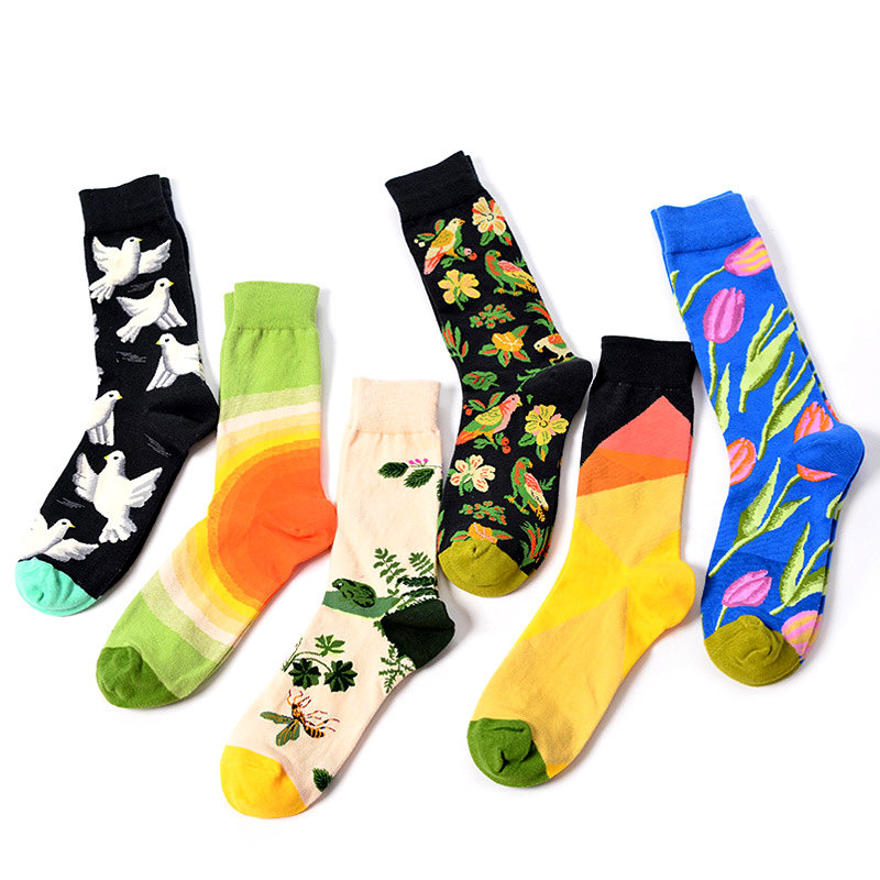 Premium Flower Dove Couple Socks Personalized Modeager Cozy Short Womens Socks Happy Cotton Funny Man unisex Crew Socks Soks