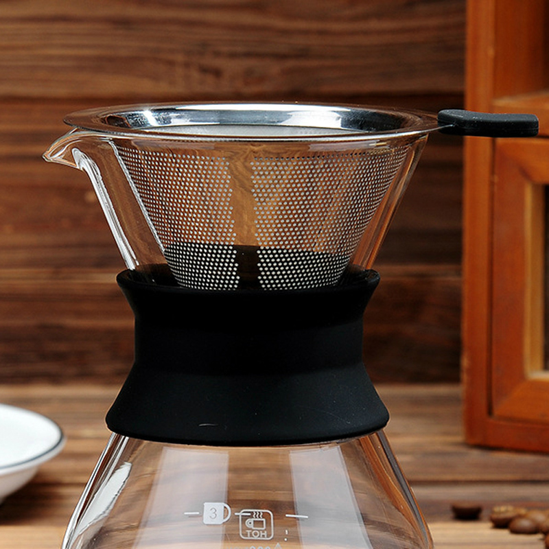 Pour Over Coffee Filter Metal Dual Mesh Coffee Filter Cone Stainless Steel Reusable Paperless Coffee Dripper Portable Coffeeware