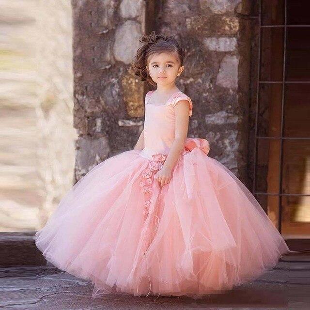 2017 Rosa de Tul Flores Niña Vestidos de Cuello Cuadrado de La ...