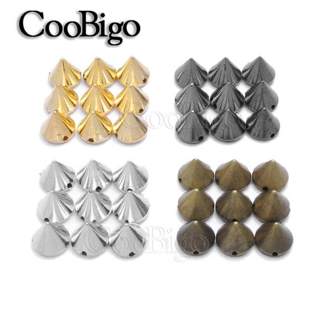 50 piezas tamaño 8,5mm x 10mm remache cono tachuelas cuentas para pulsera de cuero Punk Rock ropa Collar bolsas accesorios de costura artesanías DIY
