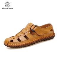Brand Genuine Leather Summer Soft Men Sandals Shoes Breathable Beach Casual Walking Male Slippers Quality Sandals Big Size 48