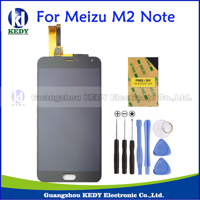New Original Black LCD Screen Replacement For MeiZu M2 Note LCD Display + Touch Screen Digitizer Assembly+Tools+Adhensives