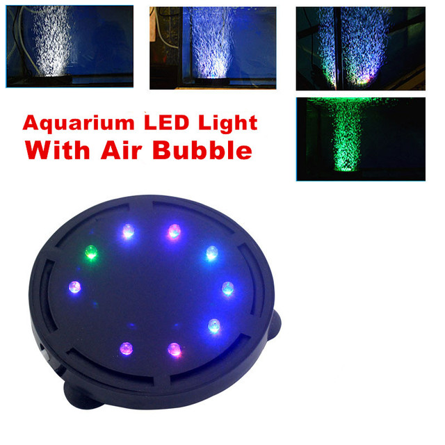 New Corlorful Submersible Aquarium LED Lighting Decorative Fish Tank Lights  Aquarium Air Bubble Water Lamp Used