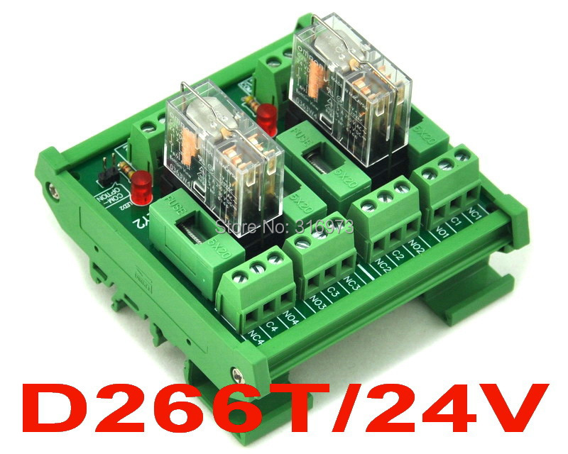 DIN Rail Mount Fused 2 DPDT 5A Power Relay Interface Module, G2R-2 24V DC Relay.
