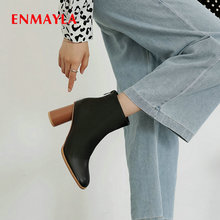 ENMAYLA 2019 Women Boots PU Zip Round Toe Winter Ankle Boots Women Square Heel Short Plush Fashion Women Shoes Size 34-43 стоимость