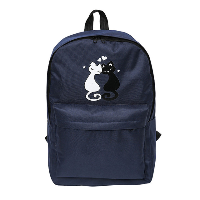 2016.12 New Backpack Women Fashion Couple With Cat Travel Satchel School  Bag Backpack Bag back pack bbb90e343d