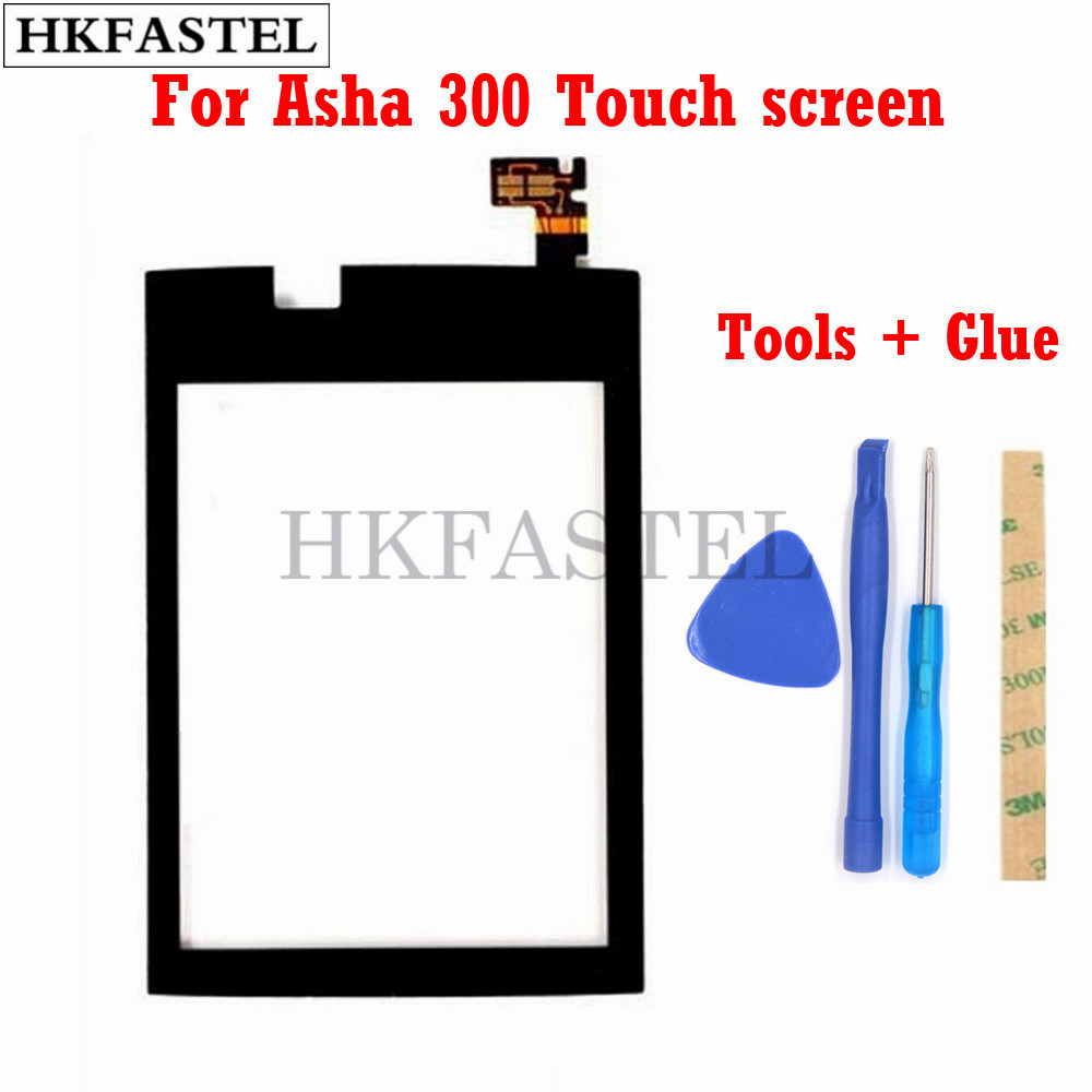 HKFASTEL Touch For Nokia Asha 300 Mobile Phone Touch Screen Digitizer Glass Outer Front Panel Replacement No LCD Display + Tools