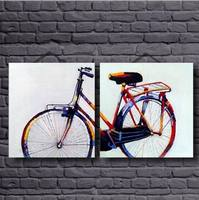 2 Panel Canvas Art 100 Hand Printed Color Bicycle Oil Paintings Art Work For Bed Room