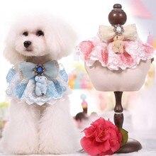 Маленький средний собака Бандана кружевной воротник Шарф собака кошка pet Шейный Платок Принцесса роскошь собака щенок бабочкой горный хрусталь воротник с медведем