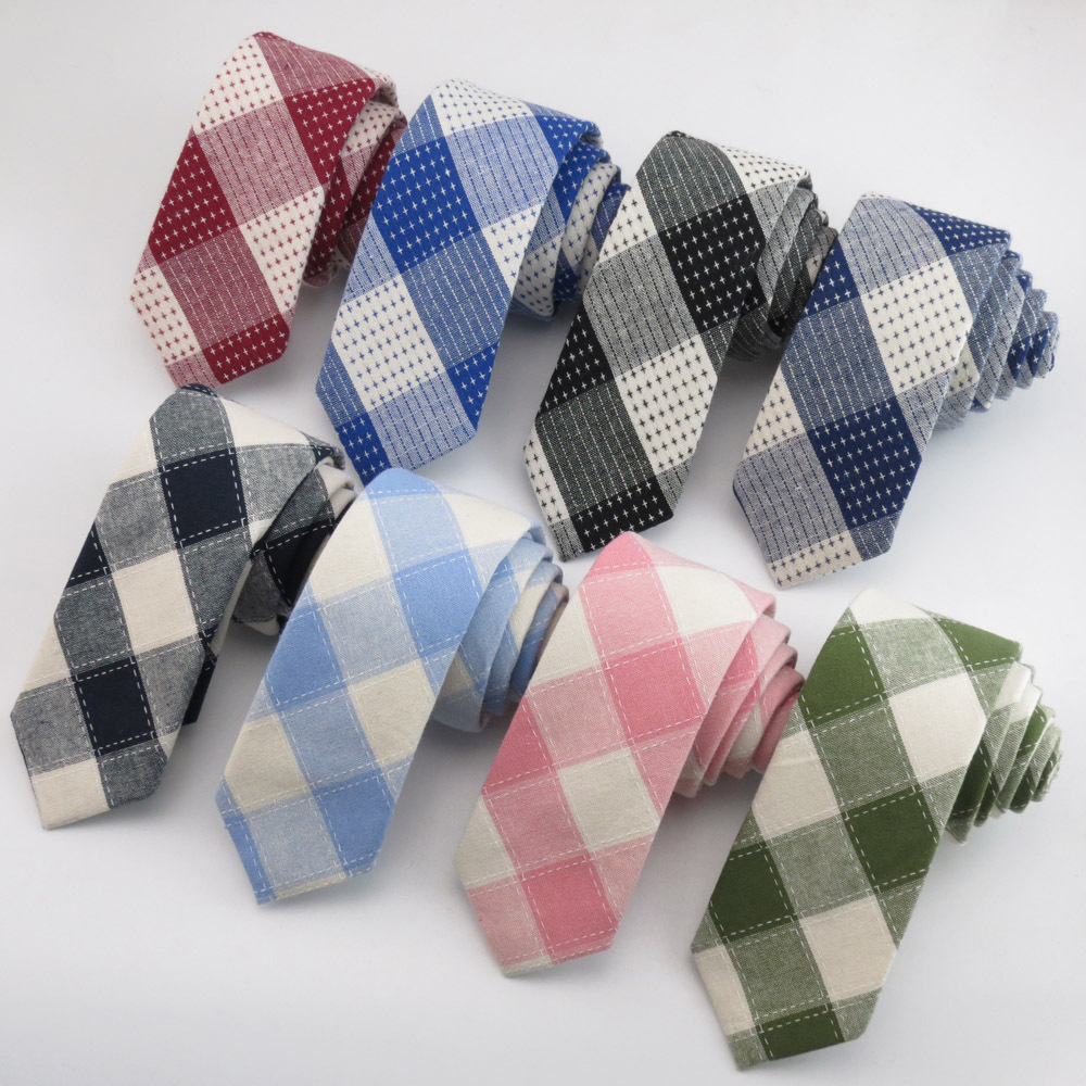 Brand 2018 Fashion Cotton Men Plaid Pocket Square Gravatas Corbatas Slim Vestidos Handkerchiefs Neckties Party Narrow Neck Tie plaid