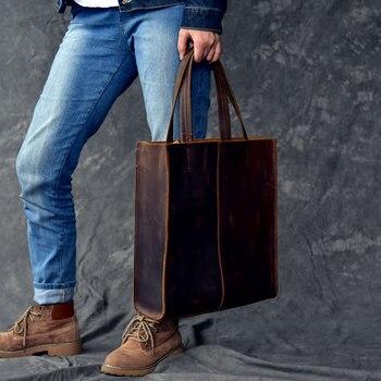 Men Handbags Classic style handmade Genuine leather Women tote bag men's female models large shoulder bag shopping handbag
