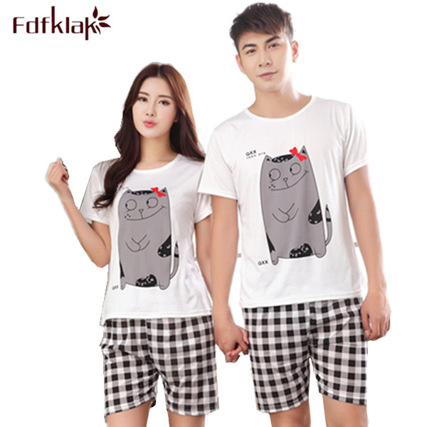 Summer Cartoon Pijamas Men Shorts Women's Lounge Couple   Pajama     Set   Plus Size Sleepwear Pyjamas Home Clothes XXL E0371