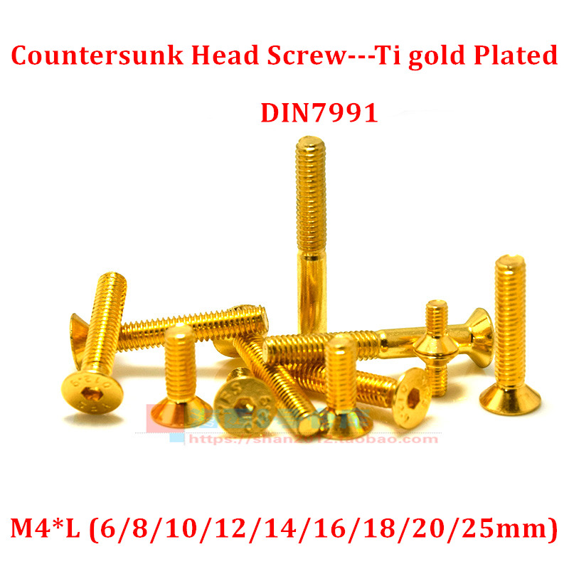 M4 Ti Gold Plated Golden Bolts Allen Screw Hex Socket Half Round Head Screws LOT