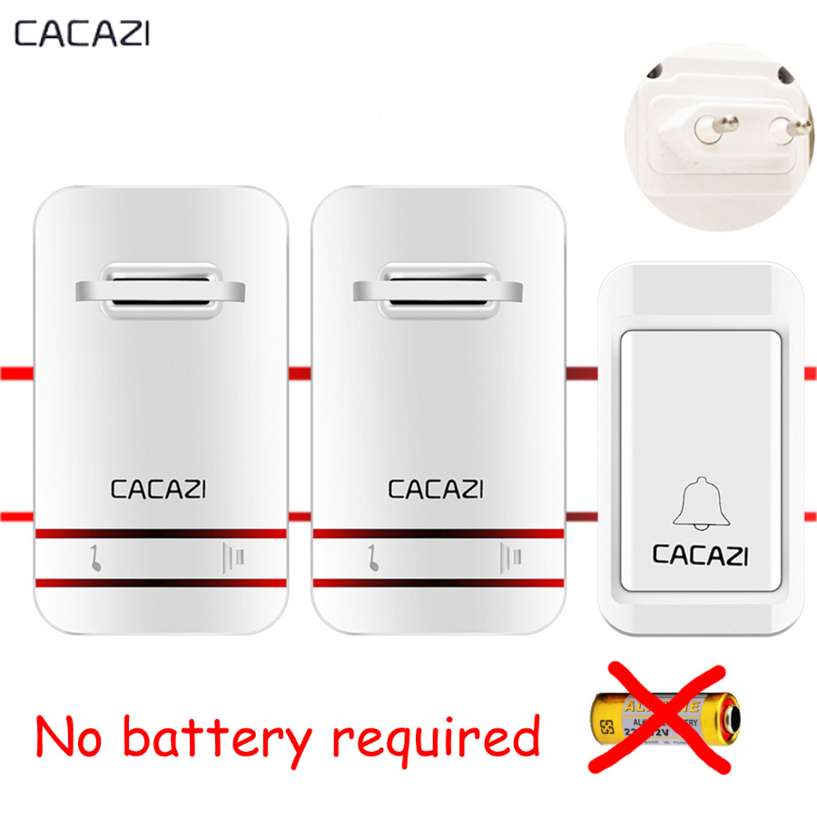 CACAZI Self-powered Wireless DoorBell Waterproof EU US plug SMART Door Bell Remote AC 110V-220V buzzer 1 Button 2 Receiver cacazi ac 110 220v wireless doorbell 1 transmitter 6 receivers eu us uk plug 300m remote door bell 3 volume 38 rings door chime