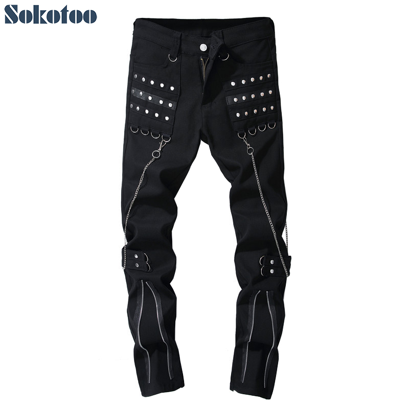 Sokotoo Mens rivet chains black denim punk jeans Fashion zippers design pants