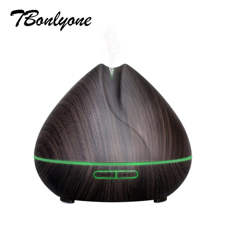 TBonlyone 400ML Air Aroma Diffusor Humidifier Wood Grain Ultrasonic Led light Aromatherapy Essential Oil Diffuser Mist Maker tbonlyone 100ml amazon hot sell air humidifier aroma diffuser ultrasonic aromatherapy essential oil diffuser with colorful light