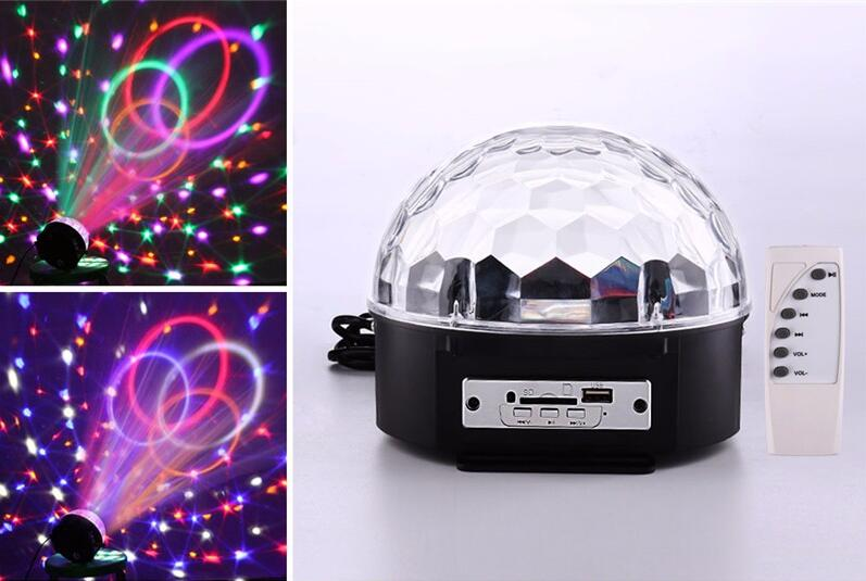 6 Colors Mini RGB MP3 LED Crystal Magic Ball Light And Music Ball Stage Effect Light With USB Disk Remote Control Bluetooth Ball novelty glass magic plasma ball light 3