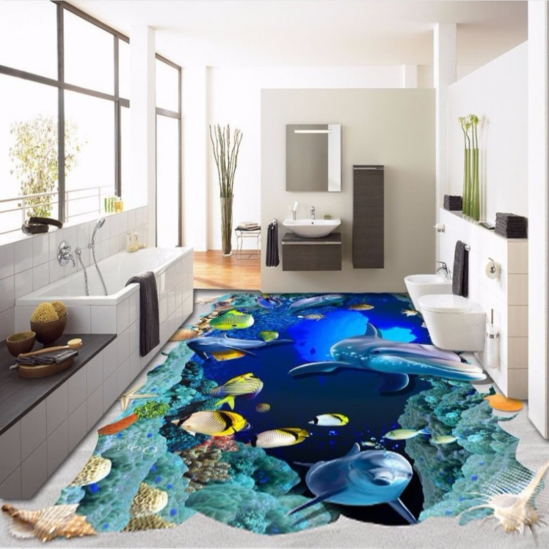 Free Shipping 3d Huge Underwater World Dolphin Tropical