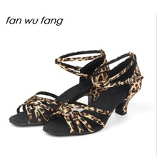 fan wu fang Satin Fur/Rubber Sole Ballroom Tango Latin dance shoes Heel 5CM dancing for kids girls children women ladies 501