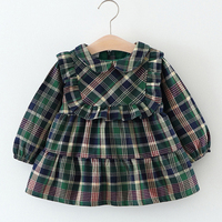 Brand New Fashion Spring Autumn Wear Scottish Style Lattice Doll Collar Lace Straight Dress For Baby