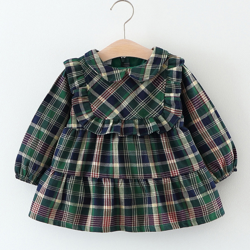 Brand New Fashion Spring&Autumn Wear Scottish Style Lattice Doll Collar Lace Straight Dress For Baby Dress Children's Clothes