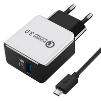 CHUNFA USB האיחוד האירופי תקע מטען תשלום מהיר 3.0 18 W מטען קיר עם כבל מיקרו USB מתאם Kit סט טעינה מהיר טלפון מטען