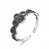 2018 Women 925 Silver Ring Vintage Rose Flower Rings for Women Girl Bohemia Silver Ring Floral Knuckle Ring Female Trendy Jewely