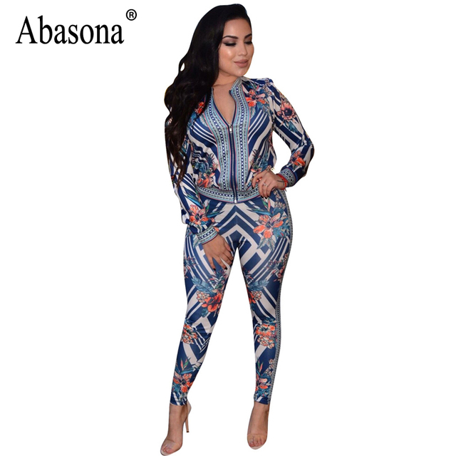 522ab77608 Abasona 2018 Casual Printed Rompers Womens Jumpsuit V-Neck Long Sleeve Bodycon  Jumpsuit Summer Bohemian Elegant Jumpsuit Female