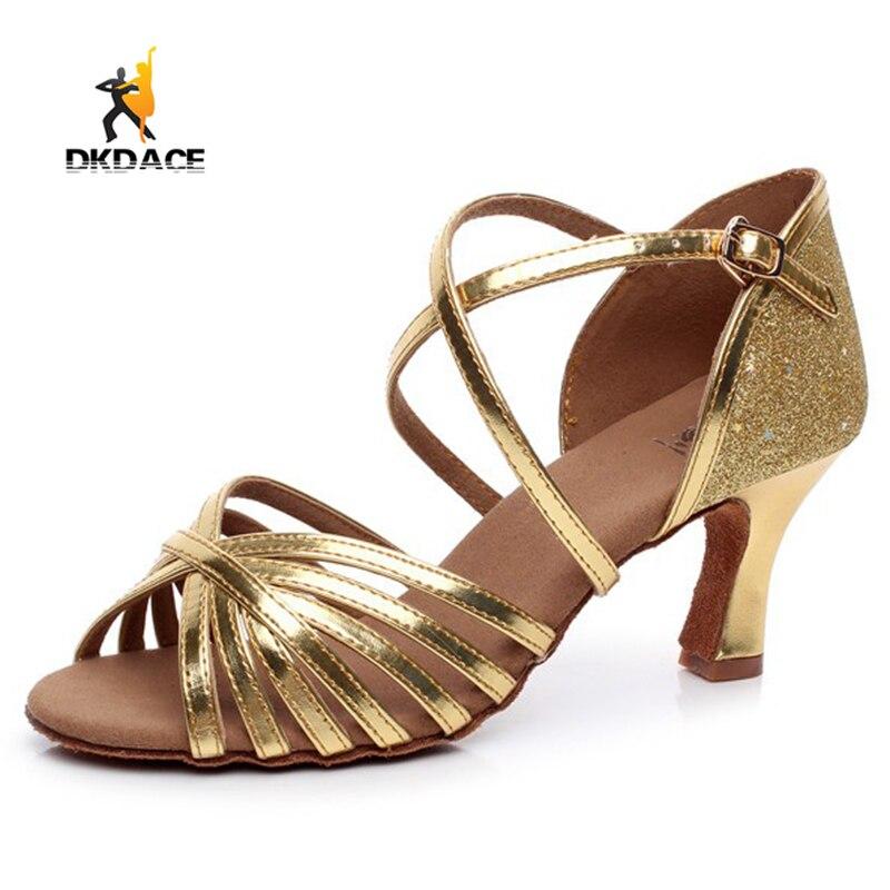 Women s Lady s Girl s Adult Sandals Leatherette Latin Tango Salsa Ballroom  Waltz Dance Shoes Gold Silver Wholesale 62f5bb1b7a1f