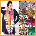 Primavera 2017 hot sale satin praça do lenço de seda da marca, 90*90 cm, cor bonita mulheres florais cachecol 21-40 SC0271