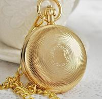 New Fashion Luxury Brand Gold Pocket Watch for Women and Men, Roman Number Dual Display Pocket Fob Quartz Watches PJX1054