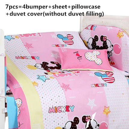 Promotion! 6/7PCS Cartoon baby bedding set cotton bed set summer bed around ,120*60/120*70cm
