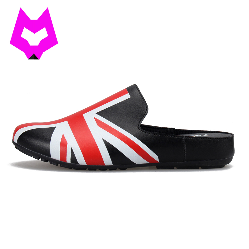 купить Wolf Who slippers shoes woman zapatos mujer flip flops New Britain flags print platforms casual slip on shoes for women sandals дешево