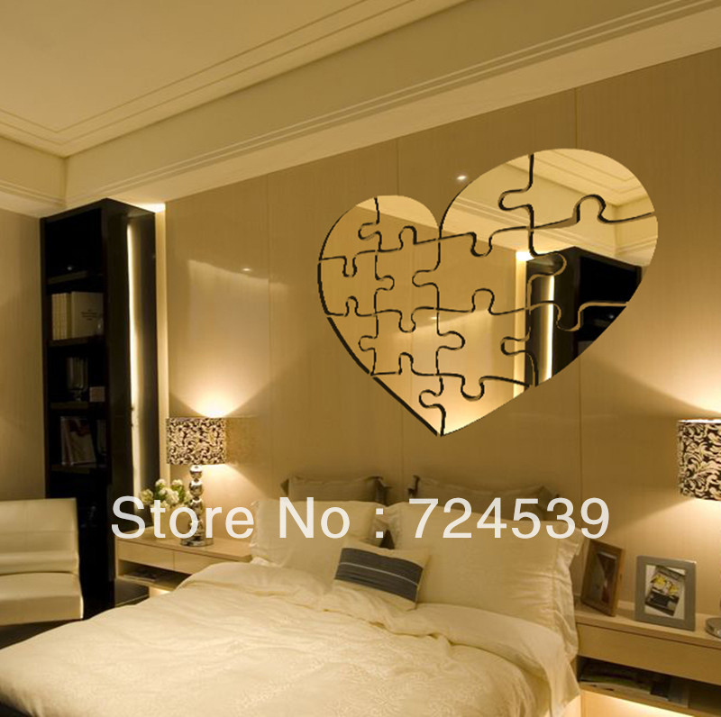 New arrival personalized DIY puzzle mirror wall stickers living room tv wall  stickers 3d creative home