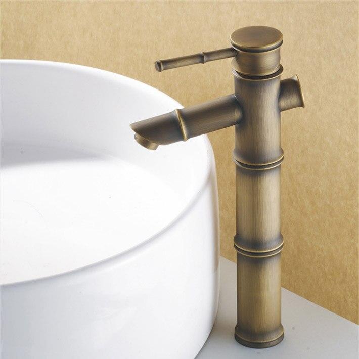 Bamboo shape DIY antique bronze copper bathroom sink faucet basin ...
