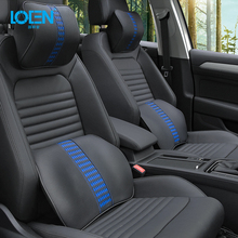 LOEN Leather Car Seat Support Cover Lumbar Back Rest Cushion Memory Foam Car Seat and Office Chair Lumbar Support Neck Pillow