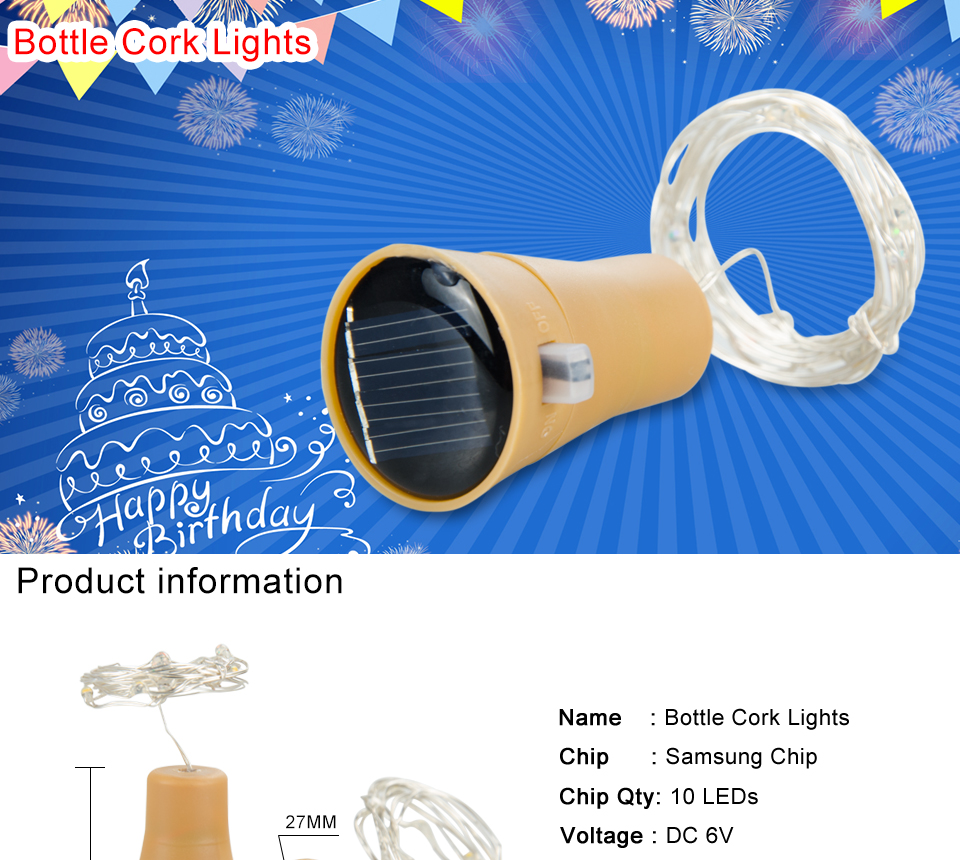 Led Bottle Stopper Fairy Lights 1 Meter 10 Leds Solar Copper Wire Wiring In Series 1m String Light